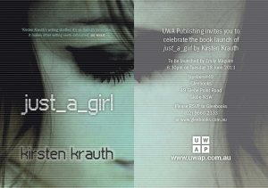 Invite: Sydney launch of just_a_girl, 18 June, Gleebooks, 6.30pm